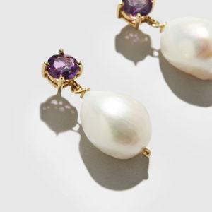 DOLLY BOUCOYANNIS-Amethyst-Pearl Earrings