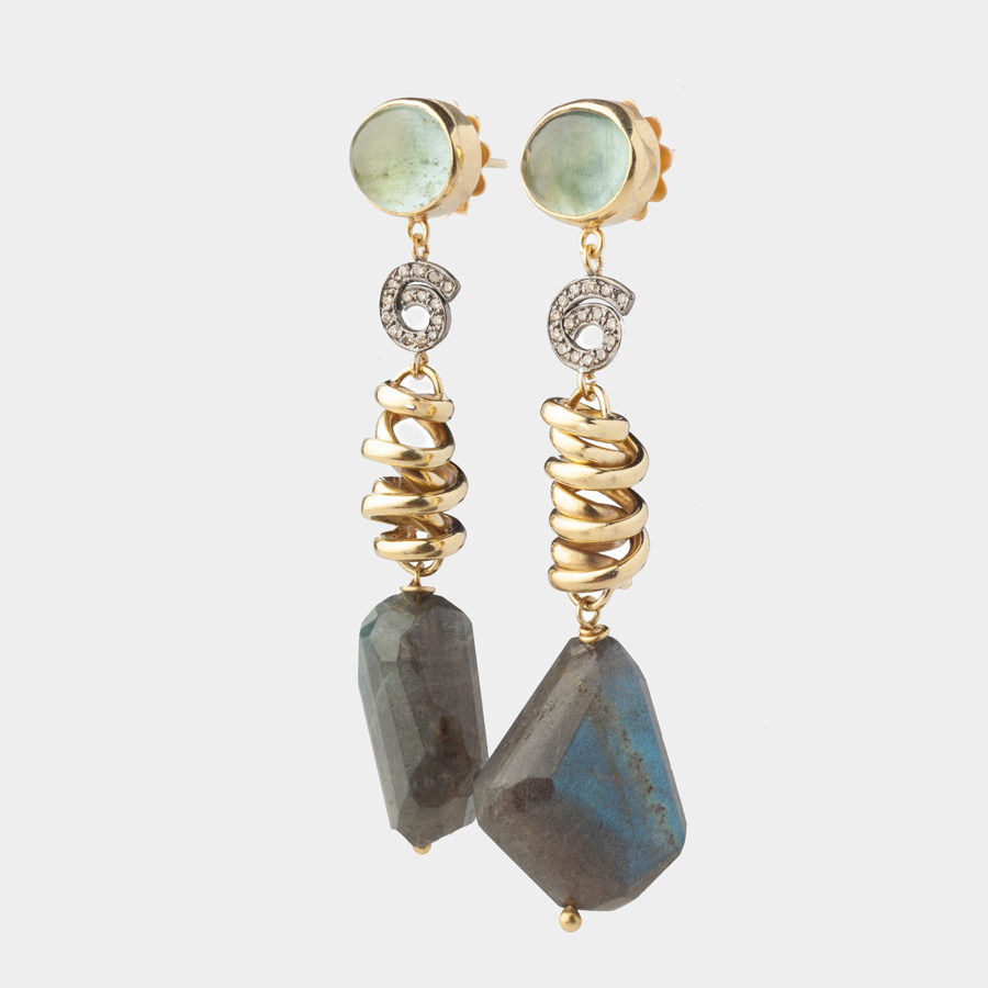 D. Boucoyannis Whirling Wires Semiprecious Stones Earrings DBE81
