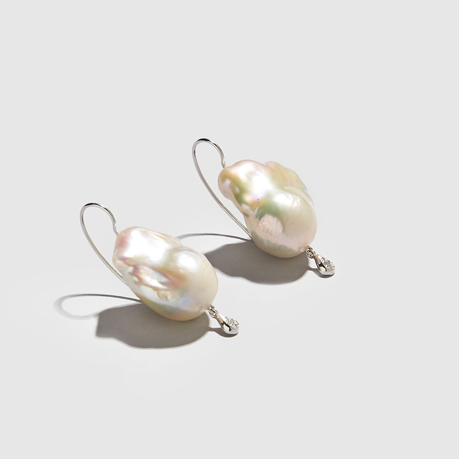 DOLLY BOUCOYANNIS-Pearl-Diamond Drop Earrings