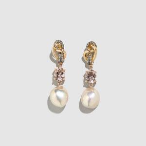 DOLLY BOUCOYANNIS-Pearl-Diamonds-Tourmaline Earrings
