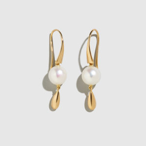 DOLLY BOUCOYANNIS-Pearl-Gold Drop Earrings