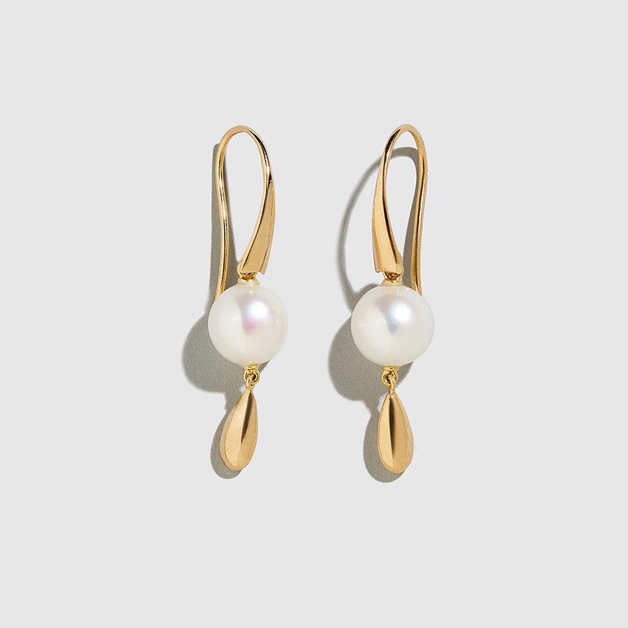 DOLLY BOUCOYANNIS-Pearl-Gold Drop Earrings