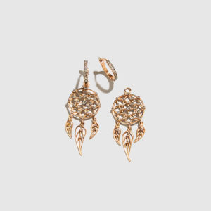 DOLLY BOUCOYANNIS-Rose Gold Separate Dreamcatchers Earrings