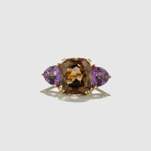 DOLLY BOUCOYANNIS-Smoky Quartz-Amethyst Ring