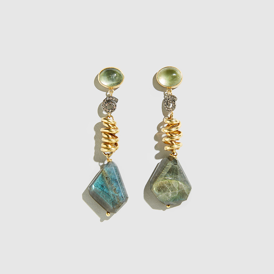 double gold worngold earrings sided e stone turquoise worn precious semi
