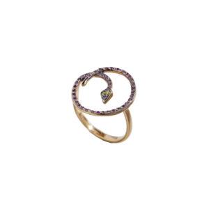 Ileana Makri Lucky Snake Pink Ring