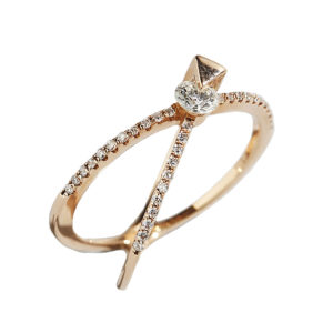 Orofasma Diamond and Triangle Crossed Ring