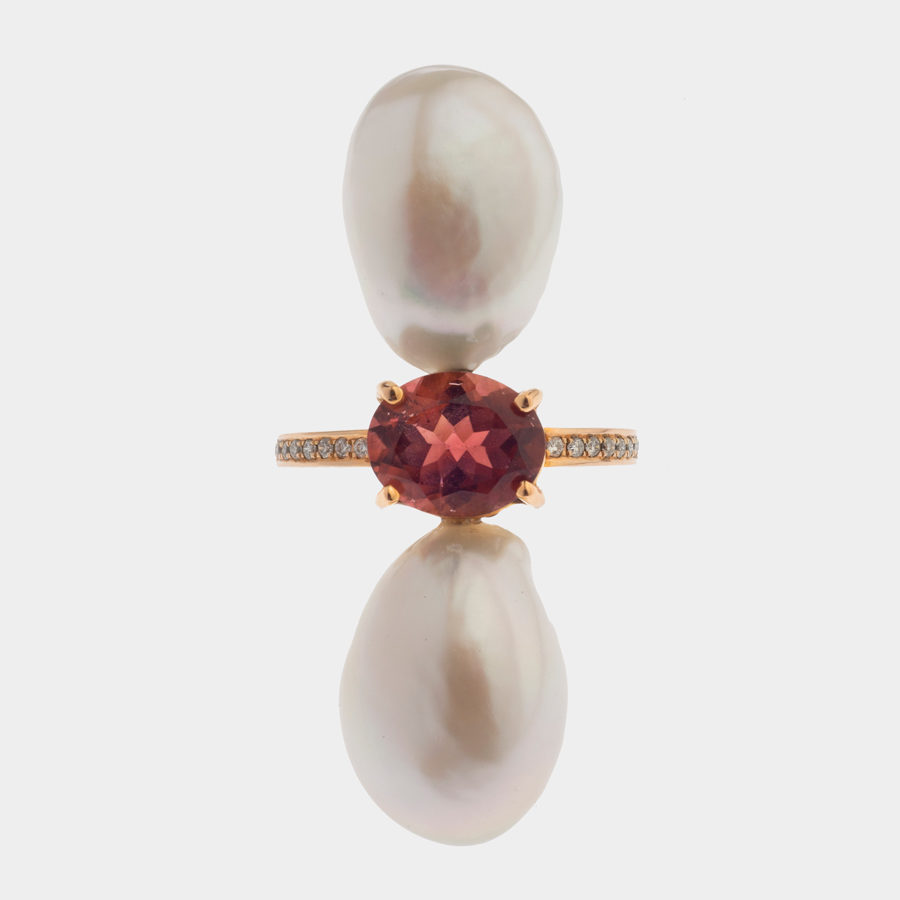 Dolly Boucoyannis Golden tourmaline ring with freshwater pearls DBR71
