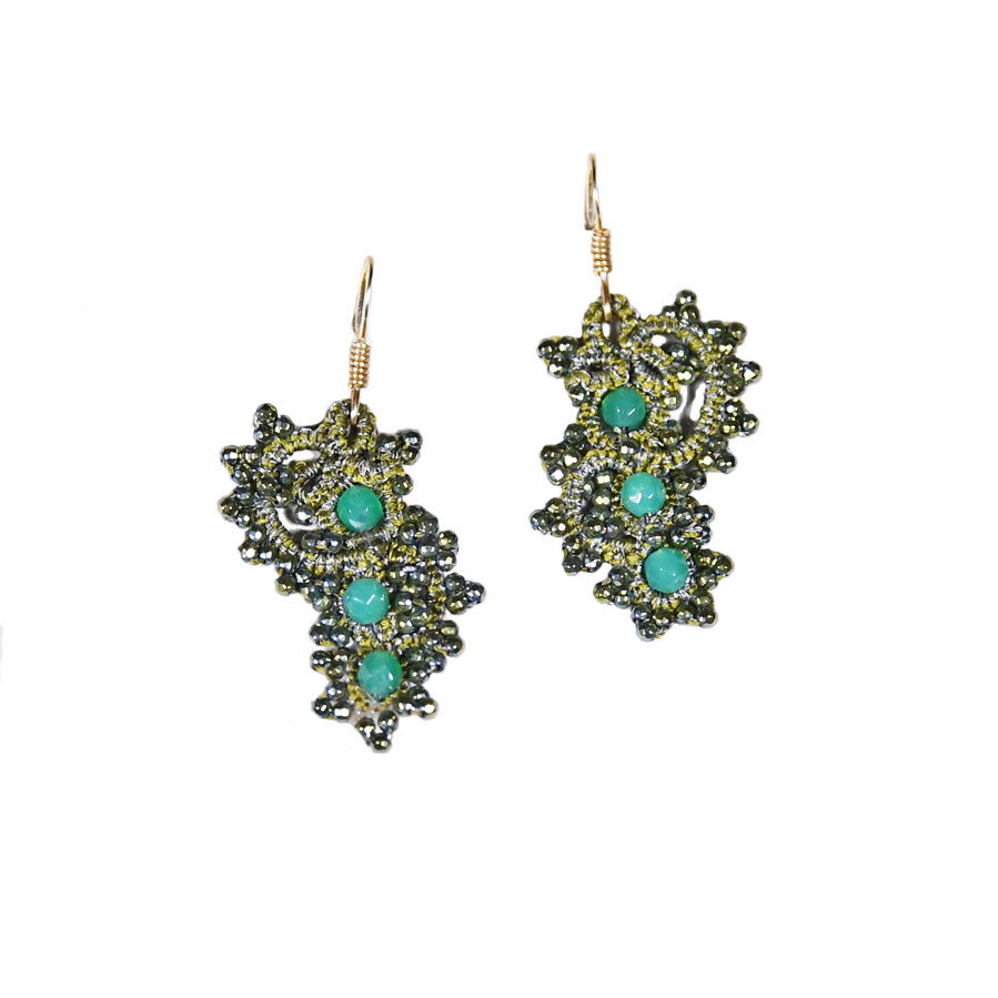 Contessina Exclusive Creations Ippocampus Earrings Olive Green Earrings