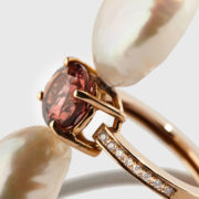 Dolly Boucoyanni – Golden tourmaline ring with freshwater pearls (2)