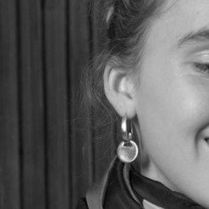Juliette Polac Moon and Sun Earrings on model