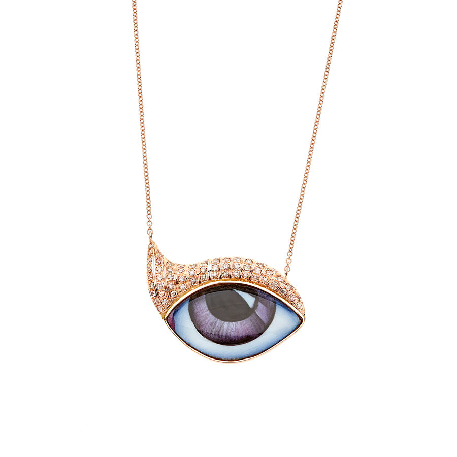 Lito Purple Big Eye Pink Gold Necklace