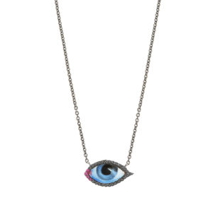 Lito Tu es Partout Petit Bleu Diamond and Ruby Necklace
