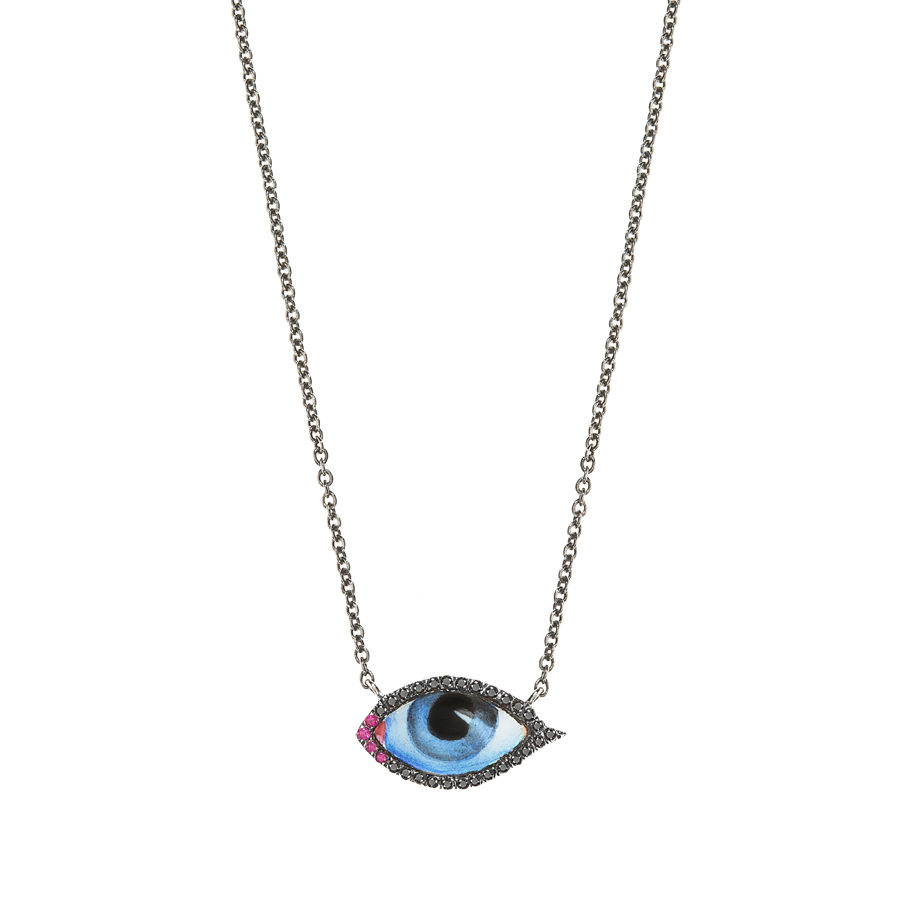 Lito Tu es Partout Petit Bleu Diamond and Ruby Necklace