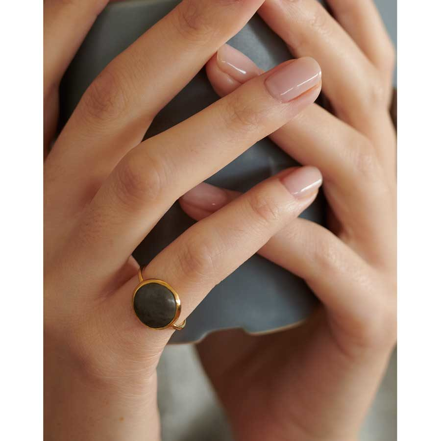 Dolly Boucoyannis Pebble Chevaliere Ring on model