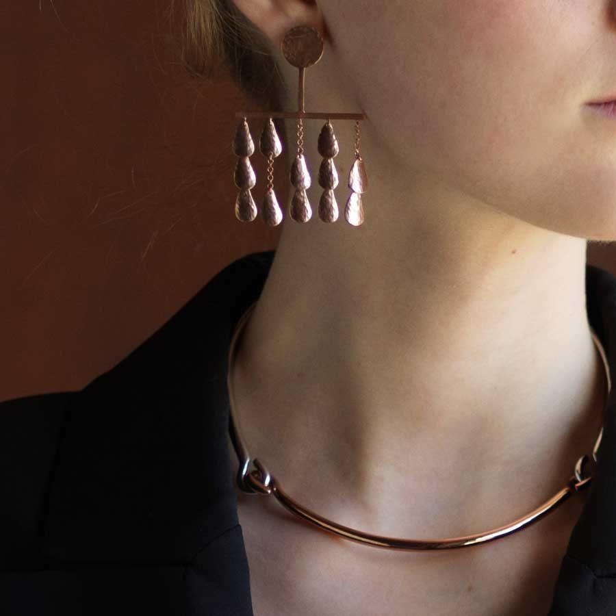 Sophia Kokosalaki Syrinx I and Perseids Earrings Necklace on model
