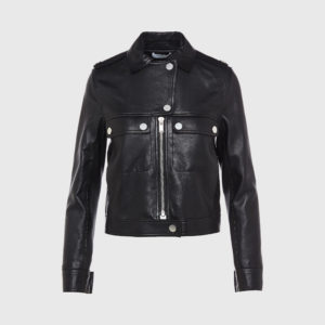 Courrege - Black Leather Biker Jacket
