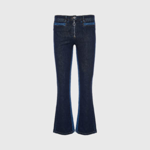 Courreges - Flared Crop Blue Jeans