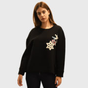 Michaela Buerger – Knitted Patch Black Sweatshirt (6)