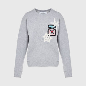 Knitted Patch Grey Sweatshirt