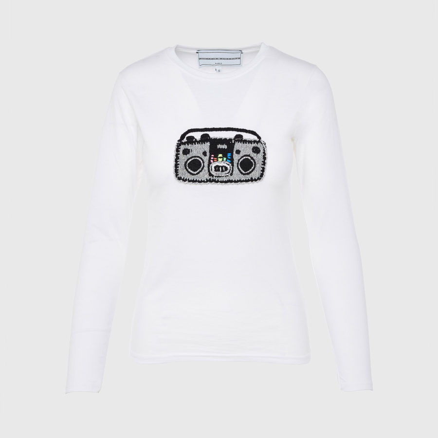 Michaela Buerger – Long Sleeve Applique White T-Shirt