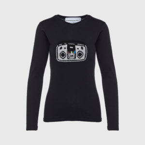 Michaela Buerger - Long Sleeve Applique Black T-Shirt