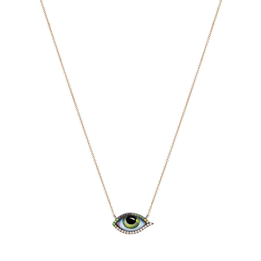 Lito Tu es partout Green Eye Yellow Gold Necklace
