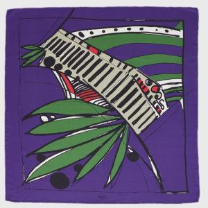 2lexia - Olive Silk Purple Scarf
