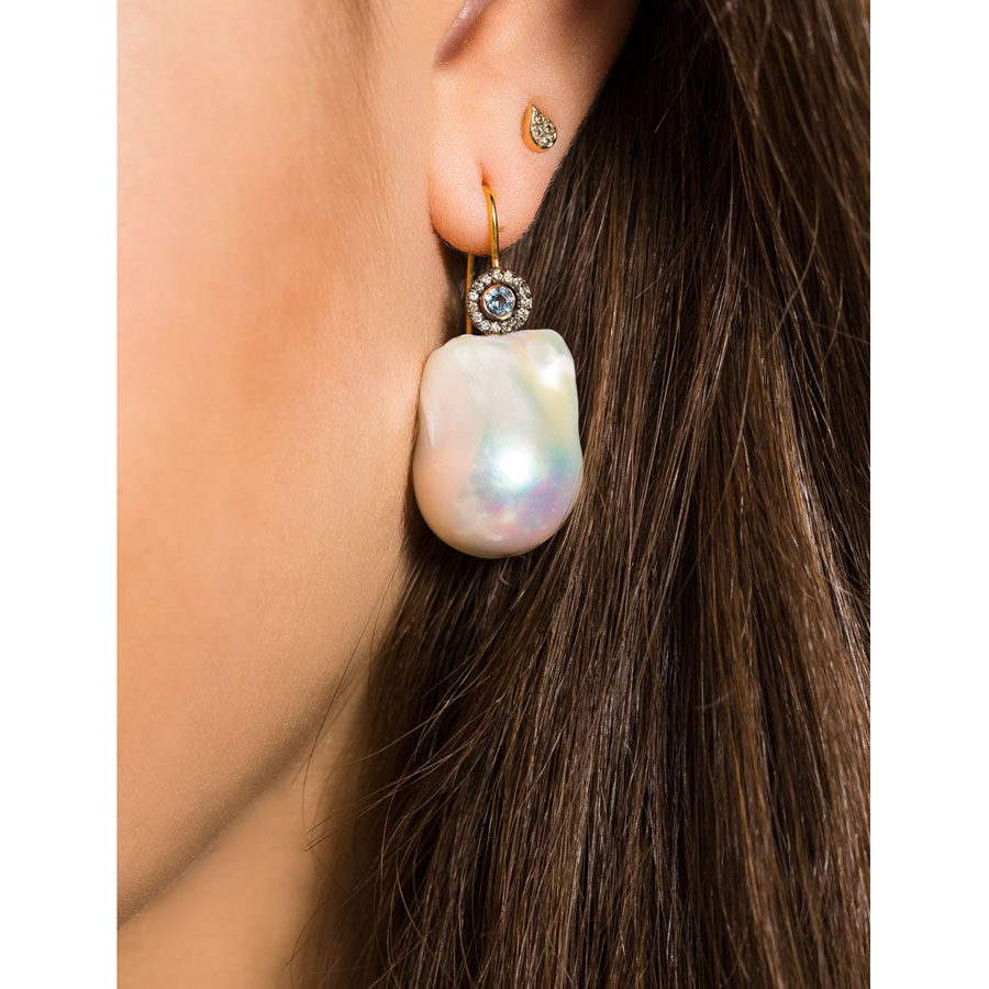Dolly Boucoyannis Golden Diamond Aqua Marine and Pearl Earrings