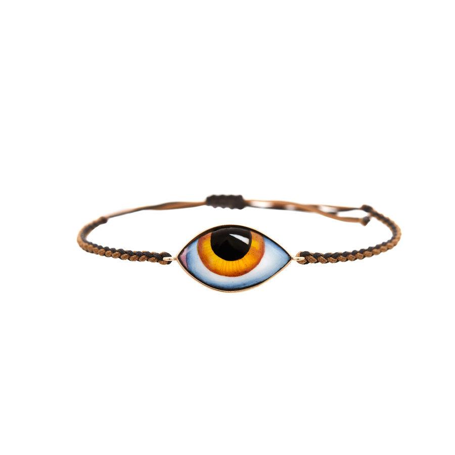 Lito Tu es partout Big Yellow Enamelled Eye Bracelet