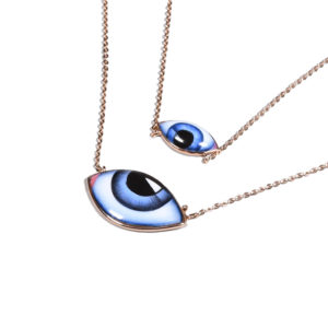 Lito Big and small Blue Enamelled Eyes Necklace