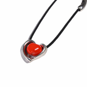Silver and Red Heart Necklace