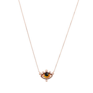 Lito Tu es Partout White Diamonds Yellow Eye Necklace