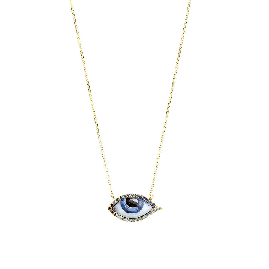 Lito Tu es Partout Sapphires Small Blue Enamelled Eye Necklace