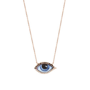 Lito Tu es Partout Small Blue Enamelled Eye Necklace