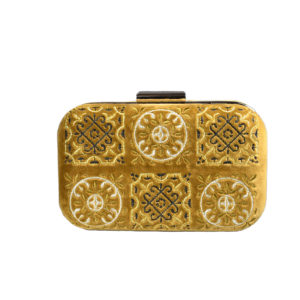 Its all greek on me Canvas Velvet Mustard Clutch