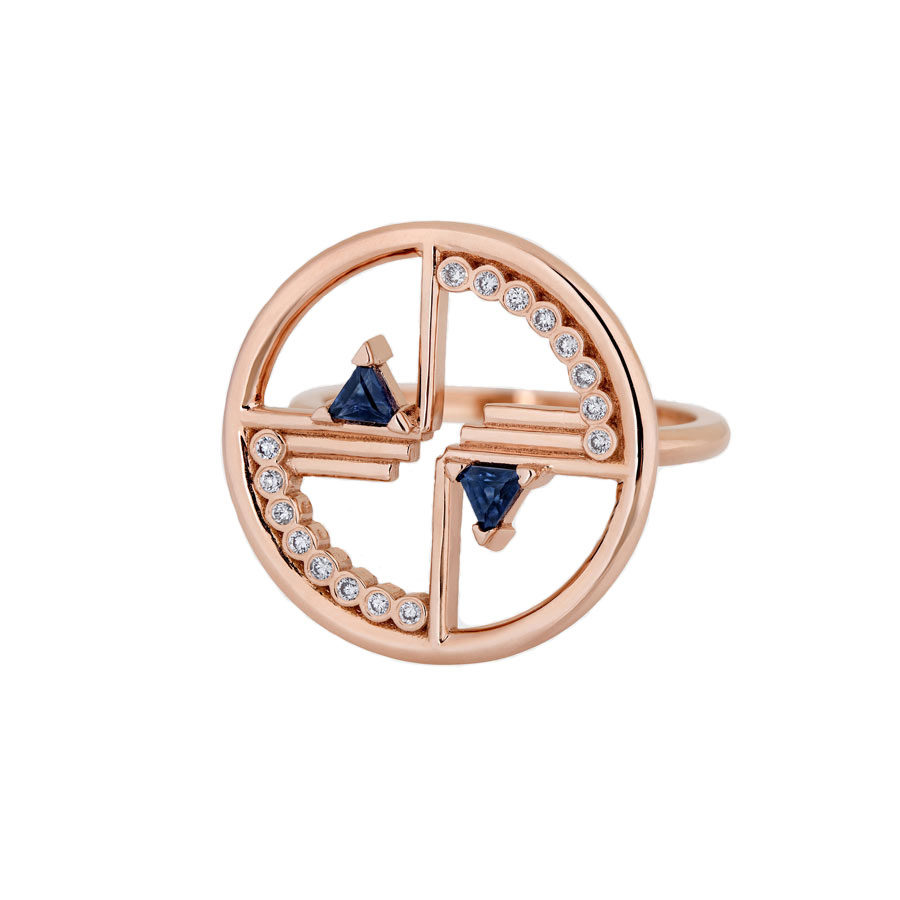 Ioanna Souflia Blueprints white Diamonds Rose Gold Ring