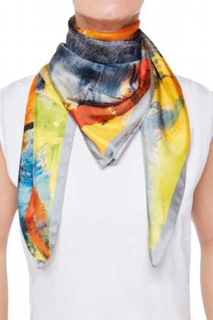 The Art and Fashion Project Grey Abstract Silk Scarf on model