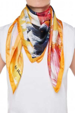 The Art and Fashion Project Orange Abstract Silk Scarf on model