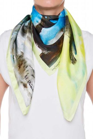 The Art and Fashion Project Skyblue Abstract Silk Scarf on model