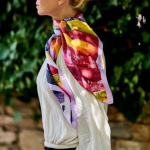 The Art and Fashion Project Red Abstract Silk Scarf on model