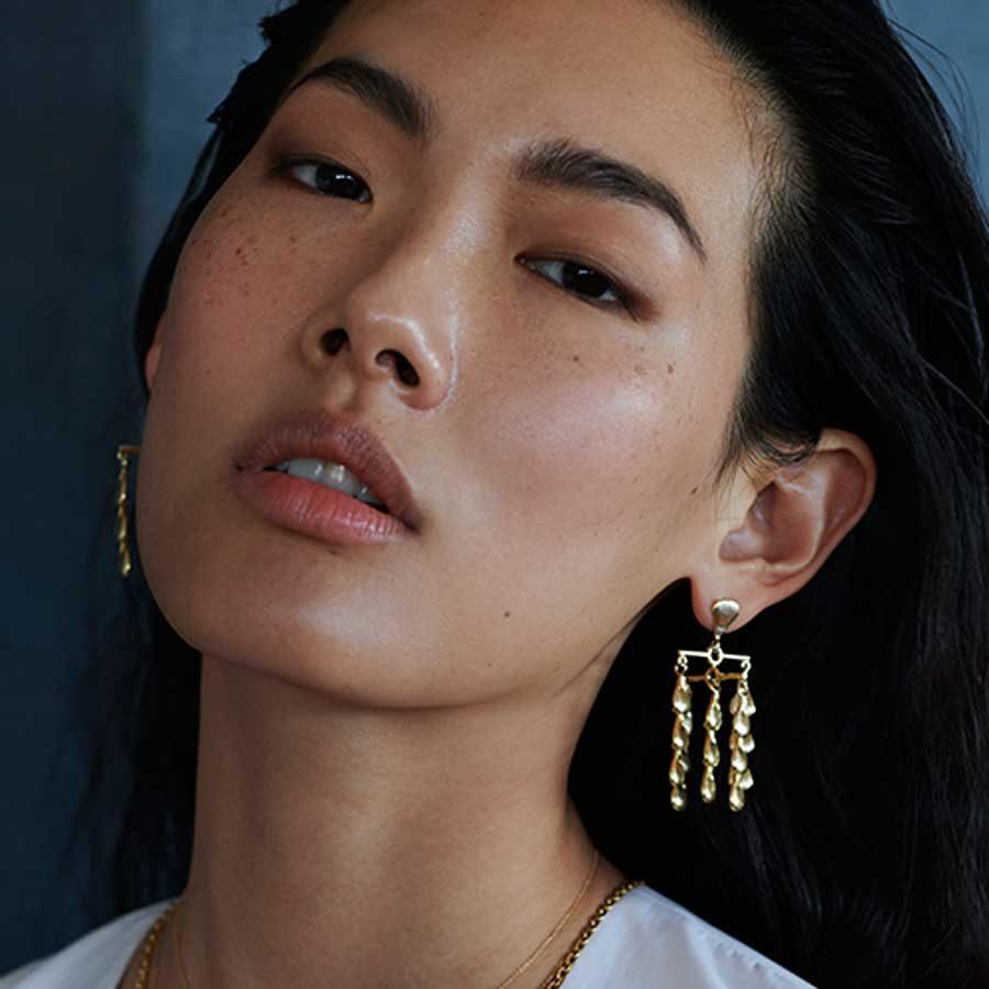 Sophia Kokosalaki Rotating Drops Handcrafted Cross Bar Earrings