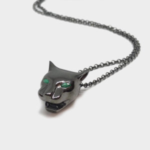 Marina Vernicos Black Panther Necklace with Emerald