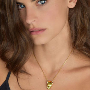 Marina Vernicos Gold Plated Panther Necklace with White Topaz