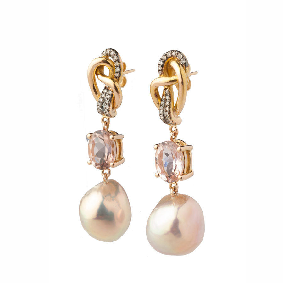Dolly Boucoyannis Pearl Diamonds Tourmaline Earrings DBE107