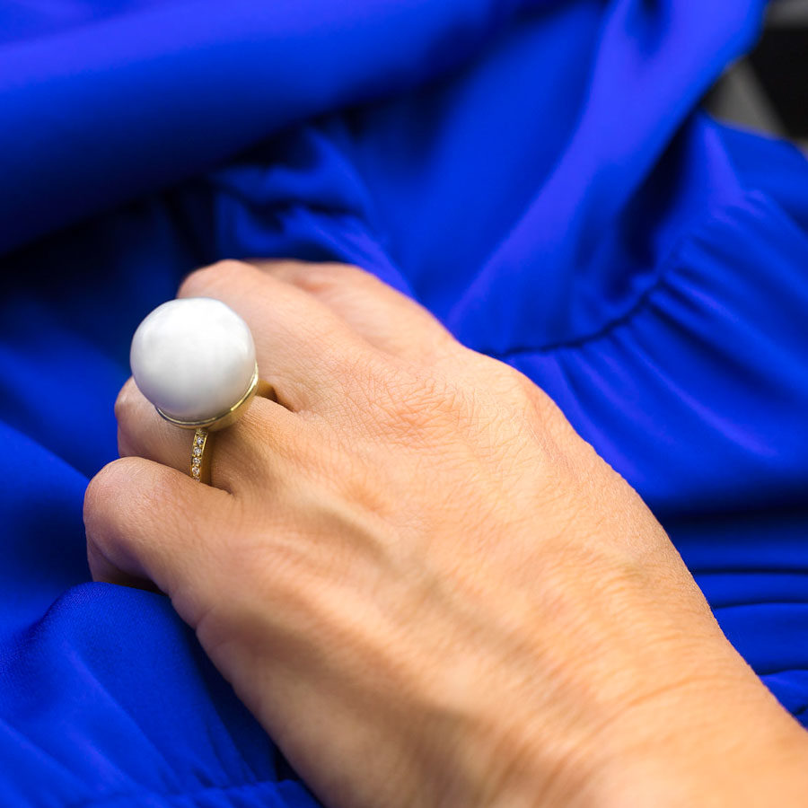 Dolly Boucoyannis Gold Diamonds Pearl Ring