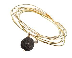 Stars on Sand Pebble and Diamond Bracelet