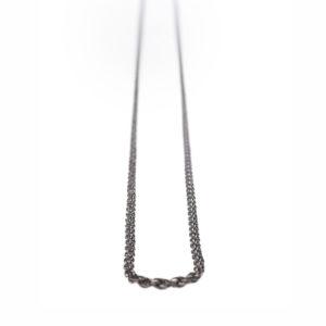 Black Rhodium Oxidized Sinlge Silver Chain 50 cm 80 cm 90cm