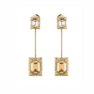 Atelier Swarovski Golden Shadow Calypso Drop Pendant Earrings