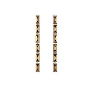 Atelier Swarovski Golden Shadow Fluid Long Skinny Drop Earrings